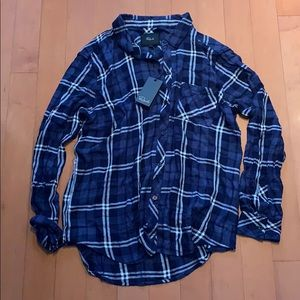 NWT Rails button down plaid shirt blue white